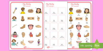 My Body Matching Cards and Board Game English/Spanish - EAL,My Body Vocabulary Matching Mat - my body, vocabulary poster, poster, my body vocabulary, displa