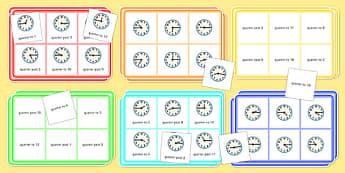 Telling Time Quarter to and Quarter Past Bingo and Lotto Pack - telling the time, quarter to, quarter past, bingo, lotto, pack