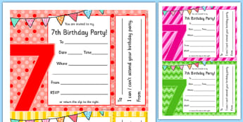 7th Birthday Party Invitations - 7th birthday party, 7th birthday, birthday party, invitations