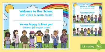 Welcome to Our School Certificate English/Portuguese - Welcome, to, our, school, class, classroom, friends, new starter, new year, back to school