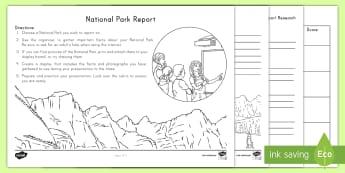 National Park Report - USA, USA symbols, Presentation, Research, speech, oral presentation, speaking and listening, informa