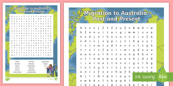 Migration to Australia Word Search - Australia, HASS, history, geography, migration, migrate, stories, colony, convicts, family histories
