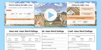 -tious and -cious Word Endings Activity Pack - SPaG, GaPS, creating adjectives, noun into adjective, suffix, suffixes, words with shun sound, spell