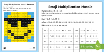 2, 5 and 10 Multiplication Mosaic Activity Sheet -  - times tables, counting in 3s, counting in 4s, counting in 6s, counting in 7s, counting in 8s, counti