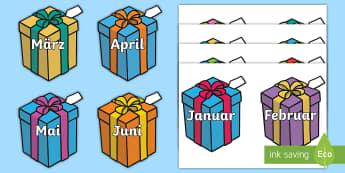 Months on Birthday Presents German - german, months, birthday, presents, year