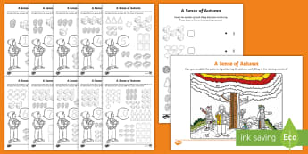 A Sense of Autumn Maths Activity Pack - Aistear, Exploring My World, Oral Language, Numeracy, number, counting, algebra, patterns,,Irish