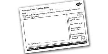 Make your Own Mythical Beast Worksheet - design your own mythical beast, mythical beast, greeks, ancient greece, greek worksheet, ks2 history, design, ks2