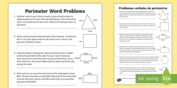 Y3 Perimeter Word Problems Activity Sheet English/Spanish -  LKS2,  calculate, Y3 maths, year 3 maths, word problems, perimeter, perimiter, Y3 Perimeter Word Pr