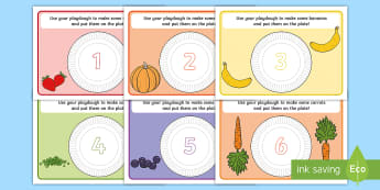 Healthy Food Counting Playdough Mats - Healthy Food Counting Playdough Mats - fine motor skills, eating, health, motorskills, fine motorski