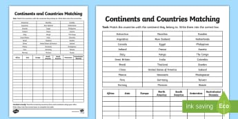 Continents and Countries Matching Activity Sheet - continents, matching, countries, activity, sheet, worksheet