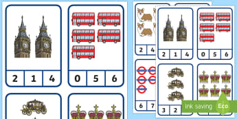 London Royal 0-10 Counting Peg Cards - counting cards, number recognition, pre-k math, kindergarten math, digits, numbers