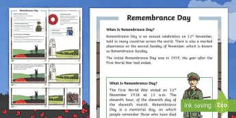 KS1 Remembrance Day Differentiated Fact File - 11th November, Poppy, Armistice Day, World War One, Remembrance Sunday