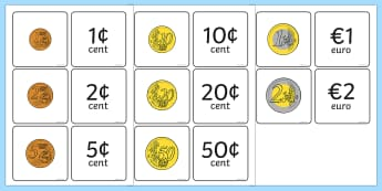Euro Coin Value Matching Card Activity - money, currency, match