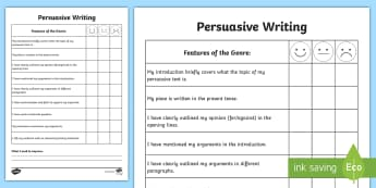 Persuasive Writing Self Assessment Sheet - Tracker, Genre, persuasion, success criteria, measure