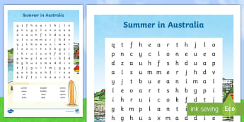 Summer in Australia Word Search - Seasons, Australia, Summer, weather, literacy, actitvity, vocabulary