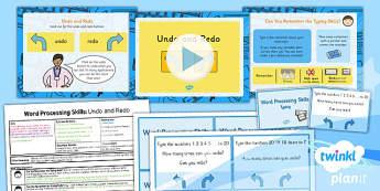 Computing: Microsoft Word Processing Skills: Undo and Redo Year 1 Lesson Pack 4