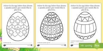 Easter Egg Sharing Colouring Pages