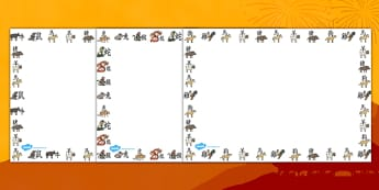 Chinese New Year Animal Symbols Lanscape Page Borders - page border, border, frame, writing frame, lanscape page borders, chinese new year, chinese new year page borders, writing template, writing aid, writing, A4 page, page edge, writing activities,