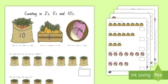 Counting in 2s, 5s and 10s Multiplication Worksheet / Activity Sheet - New Zealand Maths, skip counting