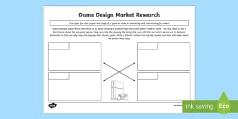 Game Design Market Research Activity Sheet - CfE Technologies,Game Design,Market Research, Craft, design, engineering and graphics,Scottish