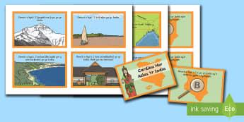 Cardiau Her Atlas yr India - India, daearyddiaeth, atlas, arfordir, chwilio, mapio, afon, mynydd, llyn, ynys,lleoliad, lle,,Welsh
