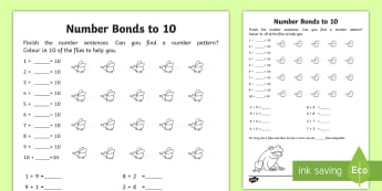 Number Bonds Within 20: Bonds to 10 Worksheet / Activity Sheet - NI, KS1, Numeracy, number bonds within 20, 10, addition, mental maths, homework, home learning, work