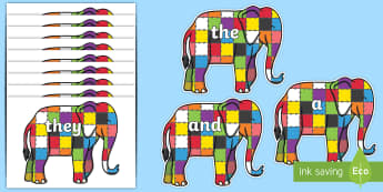 100 High Frequency Words on Elmer to Support Teaching on Elmer - High frequency words, hfw, DfES Letters and Sounds, Letters and Sounds, display words