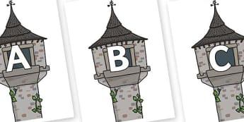 A-Z Alphabet on Towers - A-Z, A4, display, Alphabet frieze, Display letters, Letter posters, A-Z letters, Alphabet flashcards