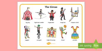 Circus Word Mat - circus, clown, juggler, word mat, writing aid, mat, acrobats, big top, magician, monkey, ring master, trapeze, horse, elephant, lion tamer, stilts, sea lion