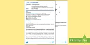 Cricket 1: Fielding Skills Lesson Ideas - Cricket, fielding, batting, catching, throwing