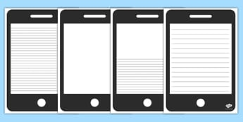 Phone Template Writing Frame - phone, template, writing frame