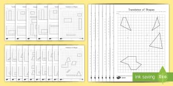 Translation of Shapes Activity Pack - Math, Geometry, Translation of Shapes, Shapes, Coordinate Grid, transformation