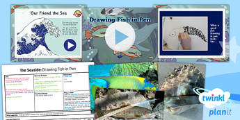 Art: The Seaside: Drawing Fish in Pen UKS2 Lesson Pack 1
