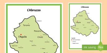 Scuola Primaria: L'Abruzzo Cartina Politica - italia, regioni, regionale, geografia, mappa, italiano, italian, materiale, scolastico
