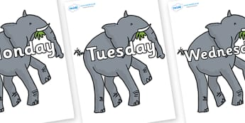 Days of the Week on Trunky The Elephant to Support Teaching on The Enormous Crocodile - Days of the Week, Weeks poster, week, display, poster, frieze, Days, Day, Monday, Tuesday, Wednesday, Thursday, Friday, Saturday, Sunday