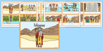 Moses Story Sequencing 4 per A4 - usa, america, Moses, Egypt, Hebrews, slaves, Pharaoh, basket, God, sequencing, story sequencing, story resources, A4, cards, 4 per A4, palace, shepherd, burning bush, plague, Promised Land, law, stone, ten commandmen
