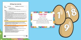 Egg Cracking Finger Gym Plan and Resource Pack - brenda's boring egg, twinkl originals, fiction, egg, cracking, hole punching, hole punch, fine moto