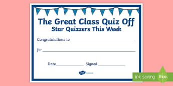 The Great Class Quiz Off Certificate - General knowledge, class Quiz, Rotary Quiz, Quizzes,
