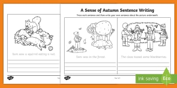 A Sense of Autumn Trace and Copy Sentence Writing Activity - exploring my world, story, aistear, oral language, handwriting, trace, copy, seasons,writing, litera
