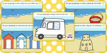 Seaside Playdough Mats - Seaside, playdough, mat, holidays, water, tide, waves, sand, beach, sea, sun, holiday, coast