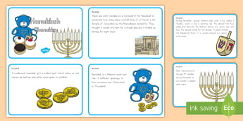 Hanukkah Display Fact Cards - holiday, culture, judaism, jewish, december, menorah, miracle of the oil, festival of lights, maccab