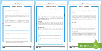 Winter Weather Differentiated Reading Comprehension Activity - winter, weather, snow, rain, forecast, read, analyze, questions, answers, problem, solve, solving,
