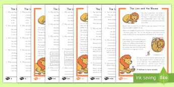 The Lion and the Mouse Differentiated Reading Comprehension Activity - Aesop, fables, reading comprehension, differentiated activity, Lion and the Mouse