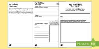 My Holiday Booklet English/German - EAL,diary, vacation, beach translation