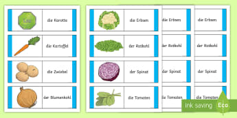 Different Vegetables Card Game German - German Games, German cards, German card games, German vegetables, German fruit and veg, German food.