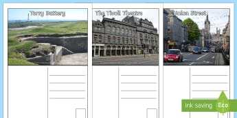 Aberdeen Landmark Postcards - CfE Social Media Requests, writing frame, postcards, people place and environment, writing, Aberdeen