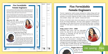 Female Engineers KS2 Differentiated Reading Comprehension Activity - space, physics, women, chemistry, computer, astronaut, STEM, technology