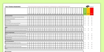 New Curriculum Year 1: Science Assessment Spreadsheet - new curriculum, year 1, assessment, science, spreadsheet