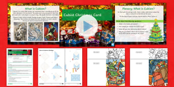 Cubist Christmas Card Lesson Pack - Cubism, Creative, Cards, colour, Shape, art history