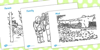 We're Going On A Bear Hunt Colouring Sheets - Bear Hunt, Michael Rosen, resources, swishy swashy, Bear Hunt, Bear Hunt Story, splash splosh, thick oozy, deep dark cave, family, journey, story, story book, story book resources, story